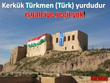 Kerkük kalesine peþmergeler Kürdistan bayraðýný astý, Türkmenler cevap verdi